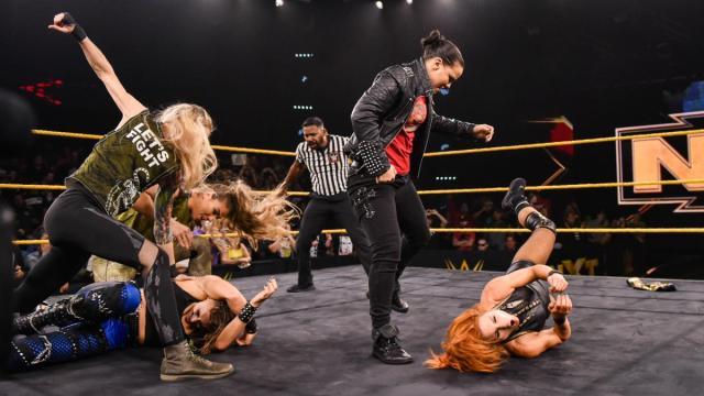 Shayna Baszler, Jessamyn Duke, and Marina Shafir attack Becky Lynch and Rhea Ripley