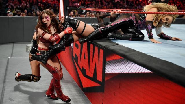 Liv Morgan and Natalya baseball slide into the Kabuki Warriors
