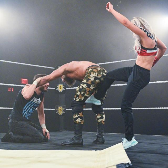 Candice LeRae kicks Tommaso Ciampa in the bollocks