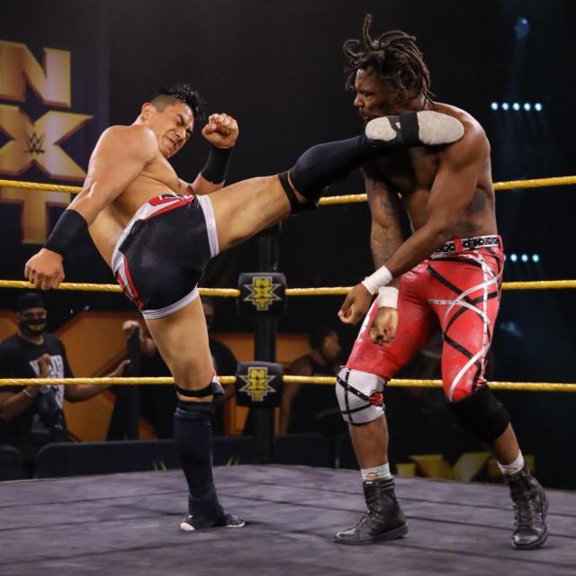 Jake Atlas kicks Isaiah 'Swerve' Scott in the head