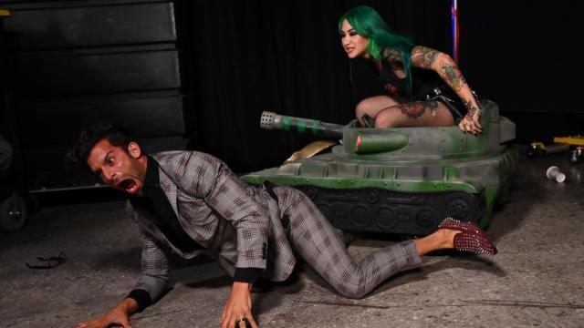 Shotzi Blackheart drives a tank over Robert Stone's leg