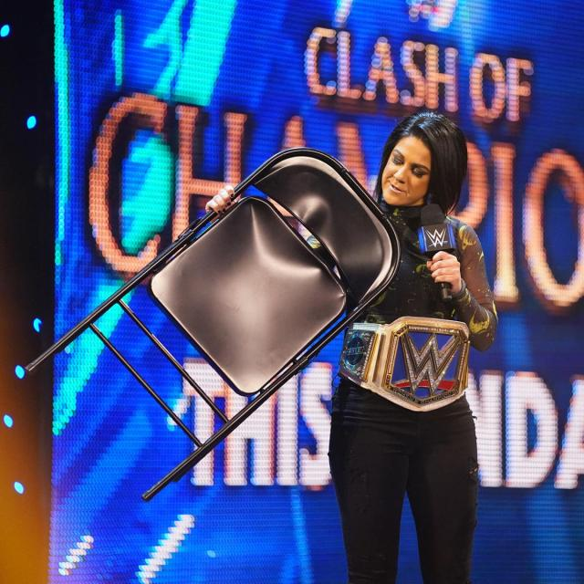 Bayley with a chair