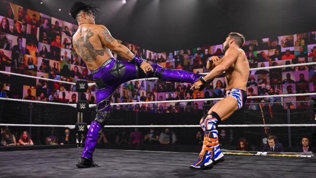 Damian Priest kicks Johnny Gargano