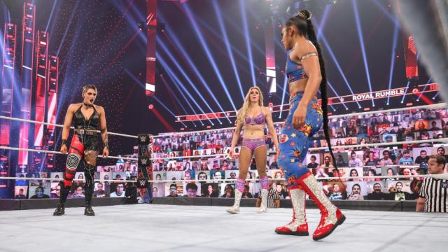 Rhea Ripley, Charlotte Flair, and Bianca Belair are the last three in the Rumble match