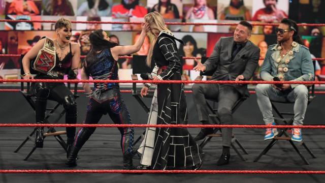 Nikki Cross slaps Charlotte Flair in front of The Miz, John Morrison, and Rhea Ripley