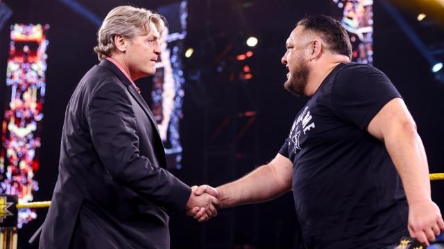 Samoa Joe and William Regal shake hands