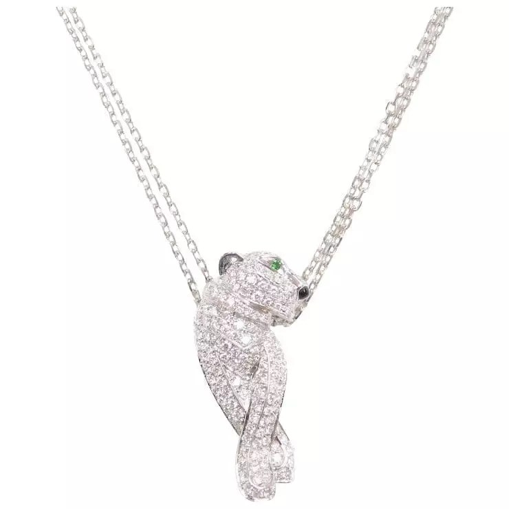 1.57 ctw Diamond, Emerald and Onyx Panther Necklace 18k
