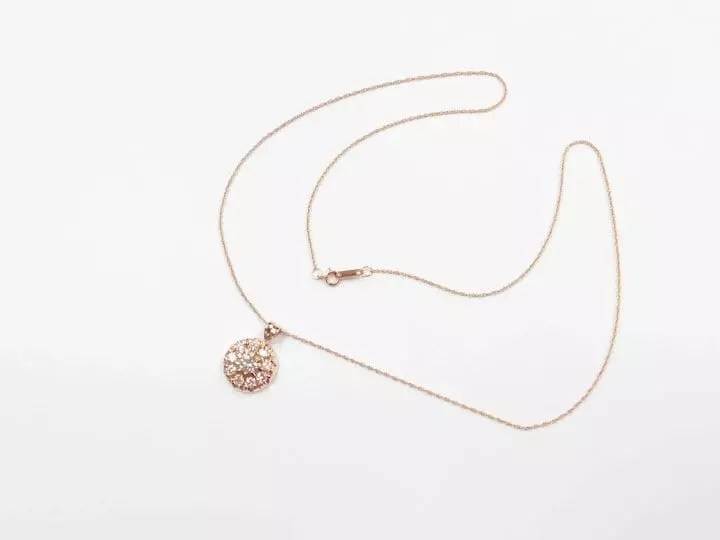 Stunning 14k ROSE Gold .77 ctw Diamond Cluster Necklace