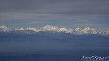 Himalaya, zoals gezien tijdens de nadering naar Kathmandu