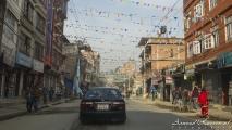 Typische straat in Kathmandu