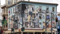 Muurschildering op de hoek van Broadway & Columbus