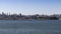 Panorama van het uitzicht op de stad vanaf Alcatraz