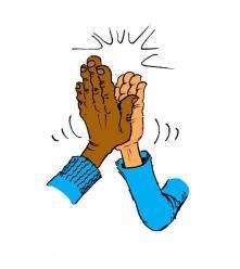 k.hand high five.blauw.def