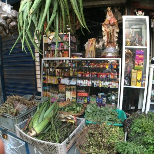 An herb store at the Mercado