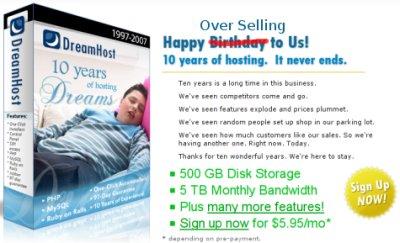 Promoción por el décimo aniversario de Dreamhost