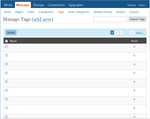 Administrador de tags - WordPress 2.5