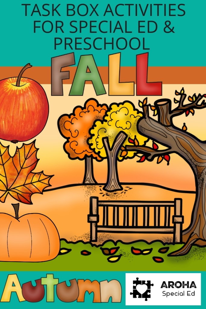 Photo advertising task box activities for special ed and preschool for Fall Autumn. Pictures of an apple, leaf and pumpkin on a fall background of 3 trees.