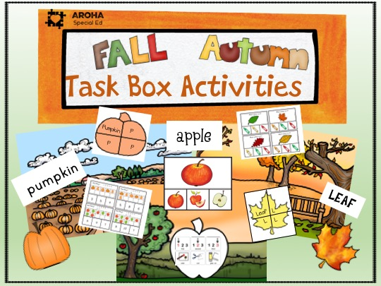 photo showing a range of activities available in the Fall Autumn Task Box Activities including pumpkin puzzle, leaf puzzle, clip activities, sort and apple pic of colour collage activity.