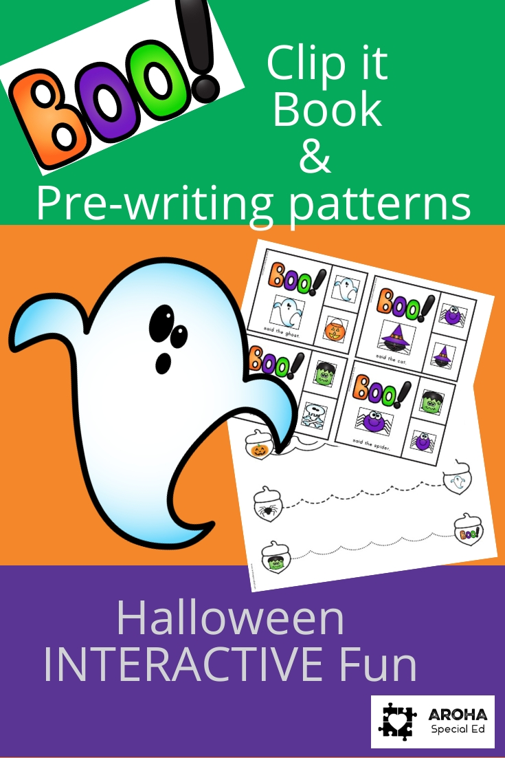 Picture advertising Boo! Clip it book and Prewriting patterns. Includes picture of a ghost and a sample page of clip it and pre-writing patterns.