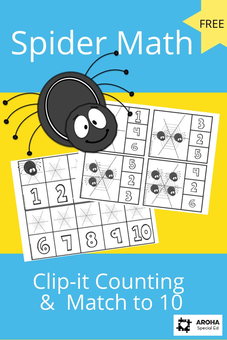 A picture of a spider and some example math activities depicting clip it counting to 10 spiders on web and a 10 frame with numerals under each space and a web above ready to receive spiders.