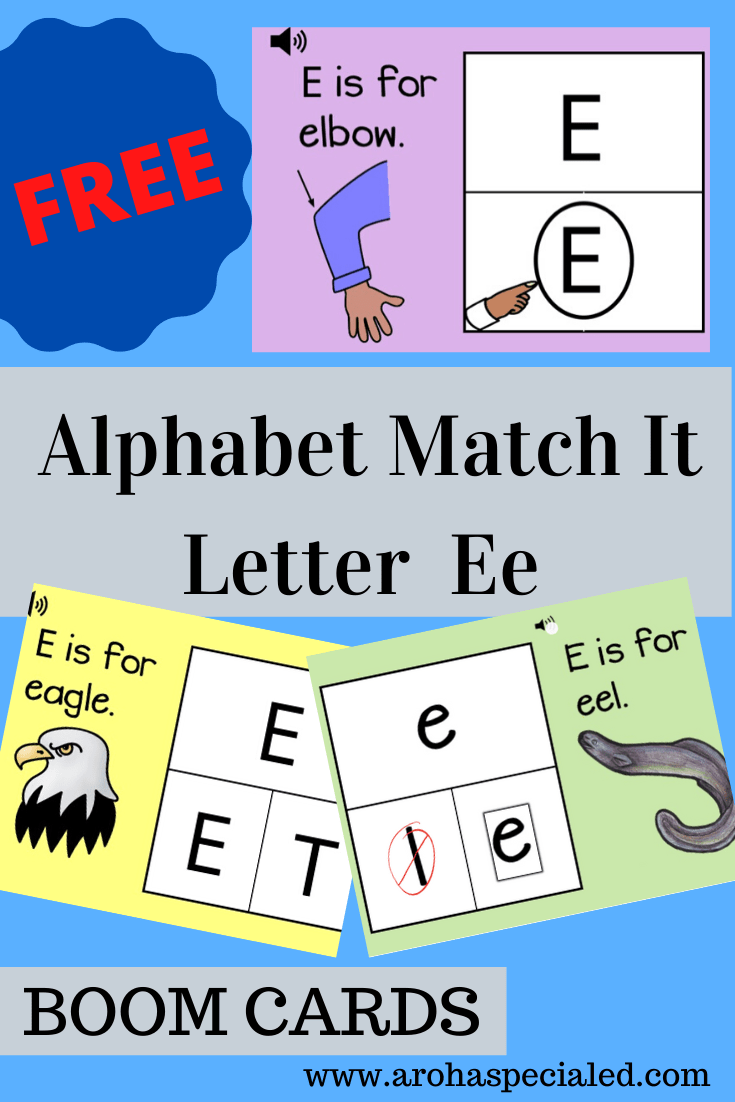 Picture featuring print: Alphabet Match It letter Ee and some cards that feature from the pack. One with an elbow and the letter E, an Eagle with a card that asks to choose from uppercase E and T. A card that shows a picture of an eel and a choice of two from lowercase l and e.
