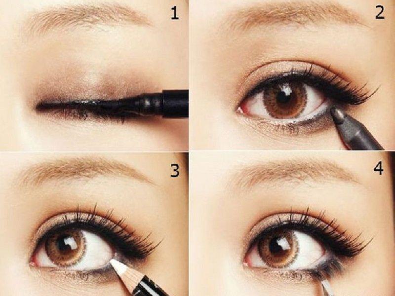 Nyilak, hogy vizuálisan növeljék a szemet