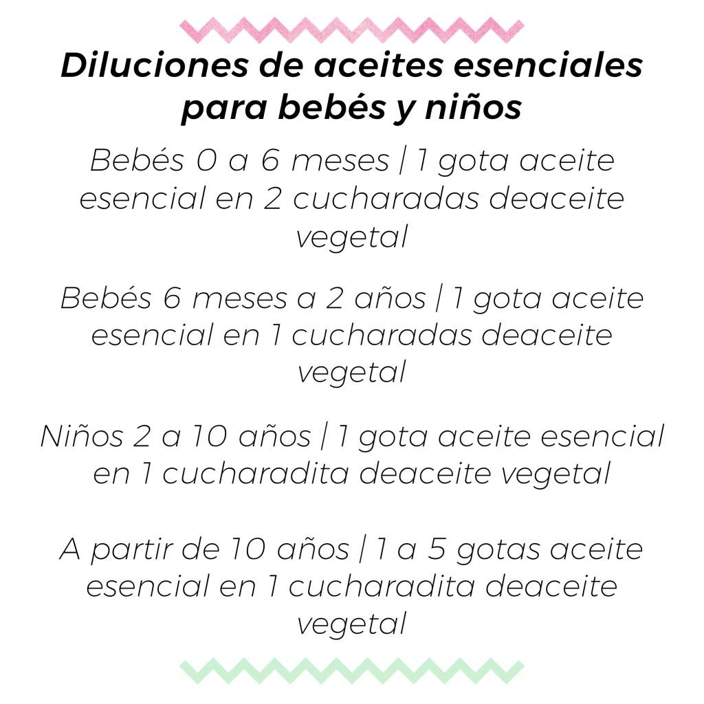 DILUCIÓN DE ACEITES ESENCIALES PARA BEBÉS Y NIÑOS