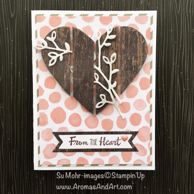 By Su Mohr; For more details click visit to go to my blog! Featuring: Petal Palette, Wood Textures DSP, Whole Lot of Lovely DSP, Bunch of Banners; #Valentinesday #woodtextures #woodtextures #fromtheheart