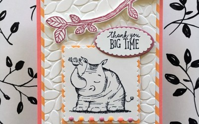 By Su Mohr for TGIFC154; Click visit to go to my blog for details! Featuring: Animal Outing, Petal Burst, Birds & Blooms, Layering Squares, Layering Ovals, Thankful Thoughts; #thankyoucards #babycards #rhinos #petalburst #animalouting #stampinup #tgif154