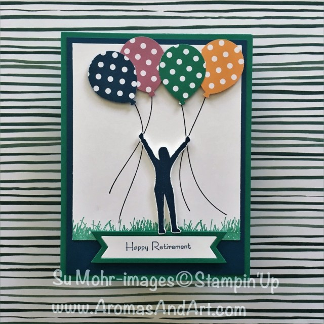 """By Su Mohr for InkBig Blog Hop; Click """"read it"""" to go to my blog for details! Featuring: Enjoy Life, Balloon Bouquet Punch, Bunch of Banners, Teeny Tiny Wishes; #retirement #enjoylife #bunchofbanners #balloonbouquet #retirementcards #stampinup #ittybittygreetings #colorrevamp"""