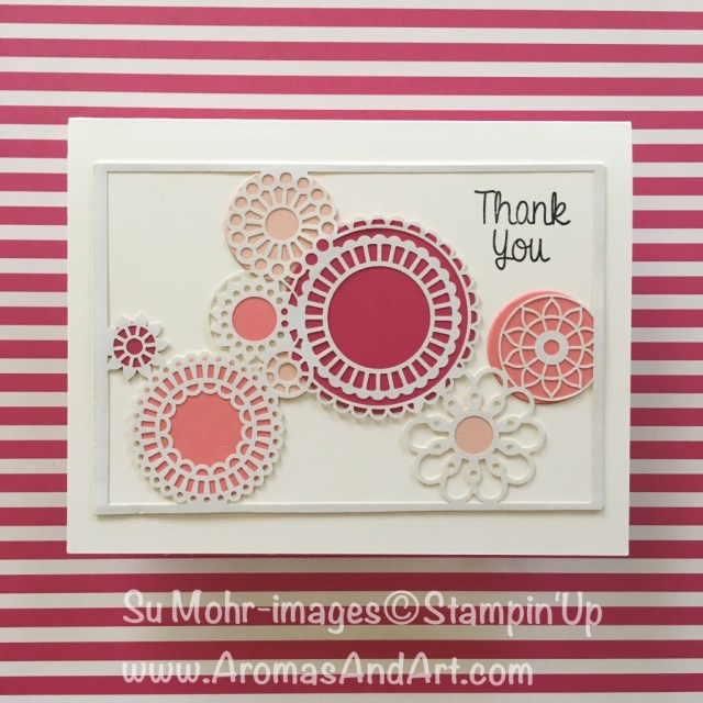 By Su Mohr for FabFri139; Click READ to go to my blog for details! Featuring: Delightfully Detailed Laser-Cut Paper, pink, Layering Circles, Hand Delivered, thank you cards; #delightfullydetailedlasercutpaper; #thankyoucards #pink #circles #monochromatic #handdelivered