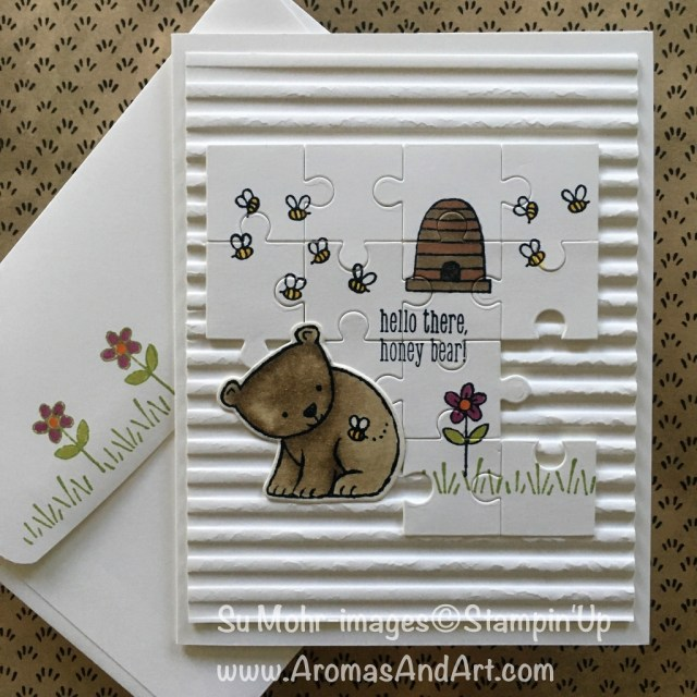 By Su Mohr for WhatWillYouStamp182; Click READ to go to my blog for details! Featuring: A Little Wild, Stampin' Blends, Corrugated embossing folder; #wwys182 #alittlewild #corrugatedembossingfolder #babycards #animalcards #bees #jigsawpuzzles