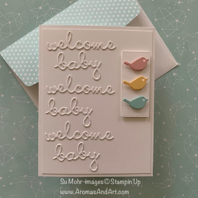 By Su Mohr for cts308; Click READ or VISIT to go to my blog for details! Featuring: Well Written dies, Rectangle Stitched dies, Twinkle Twinkle DSP; #babycards #welcomebaby #birds #birdsoncards #handmadecards #dit #papercrafts #stampinup