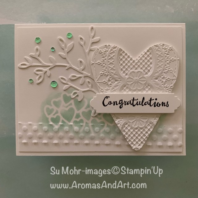 By Su Mohr for Kre8tors Feb. 2019 Blog Hop; Click READ or VISIT to go to my blog for details! Featuring: Be Mine Stitched dies, Meant To Be stamp set, Petal Palette stamp set, Petals & More die set, Polka Dot Tulle Ribbon, Lace Textured embossing; #weddingcards #hearts #heartsoncards #bloghops #occasions2019 #handmadecards #diy #papercrafts #heartsoncards #congratulations #stampinup