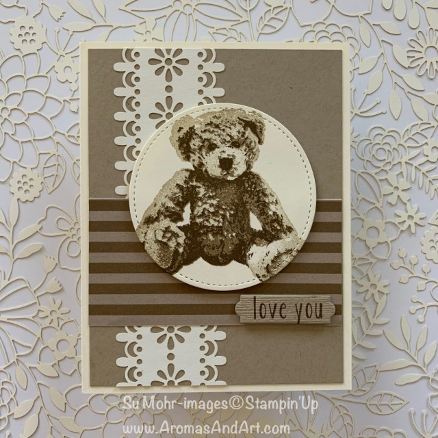 By Su Mohr for PP439 and tgifc209; Click READ or VISIT to go to my blog for details! Featuring: Baby Bear stanp set, Laser-Cut Paper, Bunch of Banners, Stitched Shapes die set, 6X6 Neutrals DSP; #babybear #delightfullydetailedlasercutpaper # #bunchofbanners #subtletexture #handmadecards #stuffedanimals #handmadecards #bearsoncards #sepia #cardsusingsepia