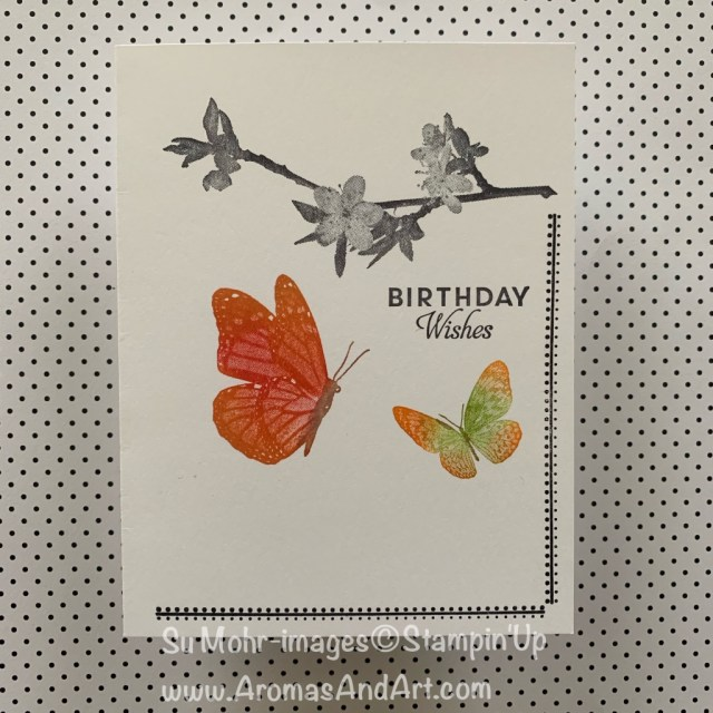 By Su Mohr for TGIF and Fusion; Click READ or VISIT to go to my blog for details! Featuring: Stamparatus positioning tool, Sponge Dauber technique, Birthday Wishes stamp set, Swirly Frames stamp set; #justacard #cas #cleanandsimple # nolayercard #onelayercard #butterflywishes #birthdaycards #butterflybirthday handmadecards handcrafted diy #stamparatus