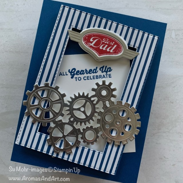 By Su Mohr for WWYS Design Team; Click READ or VISIT to go to my blog for details! Featuring: Geared Up Garage, Garage Gears, Father's Day cards, Handmade cards, bundles; #gearedupgarage #garagegears #framesoncards #fathersdaycards #handmadecards #handcrafted #diy #stampinup #cardchallenges #designerscards