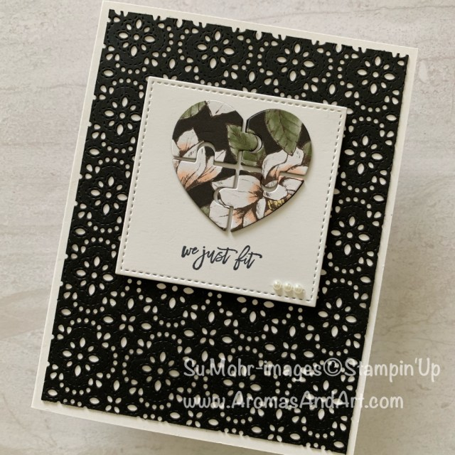 By Su Mohr for WWYS; Click READ or VISIT to go to my blog for details! Featuring: Love You To Pieces stamp set, Puzzle Pieces Die Set, Stitched Shapes Die Set, Magnolia Lane DSP; #loveyoutopieces #puzzlepieces #stitchedlace #magnolialane #handmadecards #handcrafted #diy #2019-2020 #newcatalog #stampinup