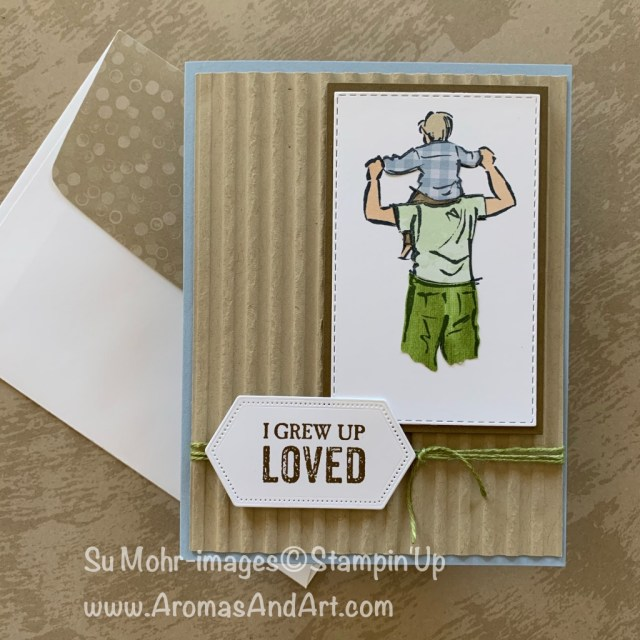 By Su Mohr for Kre8tors June Blog Hop; Click READ or VISIT to go to my blog for details! Featuring: A Good Man, Corrugated embossing, Paper-piecing technique; #paperpiecingtechnique #agoodman #corrugated #incolors #fathersdaycards #stitchedrectangledies #handmadecards #handcrafted #diy #bloghops #stampinup
