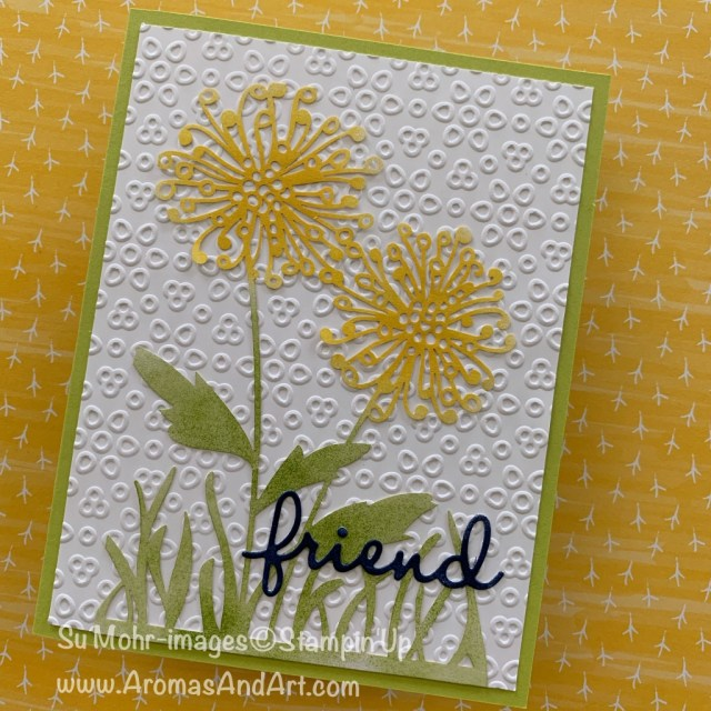 By Su Mohr for GDP; Click READ or VISIT to go to my blog for details! Featuring: Shimmer Detailed Laser-Cut Paper, Eyelet lace Embossing Folder, Well Written Die Set, stenciling technique; #twoforone #stencilingtechnique #crafttechniques #handmadecards #handcrafted #stencils #stampinup #colorchallenges #flowersoncards