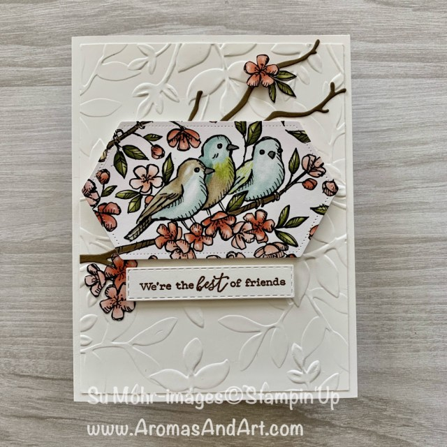 By su Mohr for Pals June Blog Hop; Click READ or VISIT to go to my blog for details! Featuring: Free As A Bird, Bird Ballad DSP, Stitched Nested Label Dies, Seasonal Layers Dies; #birdballad #freeasabird #stitchednestedlabeldies #birdsoncards #friendshipcards #layeredleaves #seasonallayersdies #handmadecards #handcrafted #diy #bloghops #palsbloghop