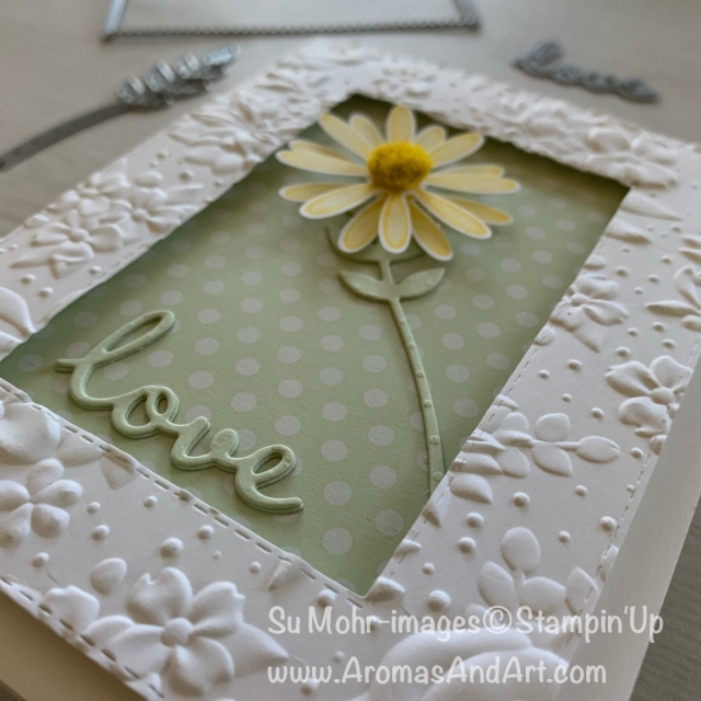 By Su Mohr for Pals July Blog Hop; Click READ or VISIT to go to my blog for details! Featuring: Daisy Lane Bundle, Daisy Lane Stamp Set, Daisy Medium Punch, Country Floral embossing, Perennial Essence Floral centers, Well Written Dies, Rectangle Stitched Dies, Bouquet Bunch Dies; #love #cardswithlove #daisies #daisylane #daisypunch #countryfloral #perennialessence #wellwritten #bouquetbunch #handmadecards #diy #handcrafted #texture #textureoncards