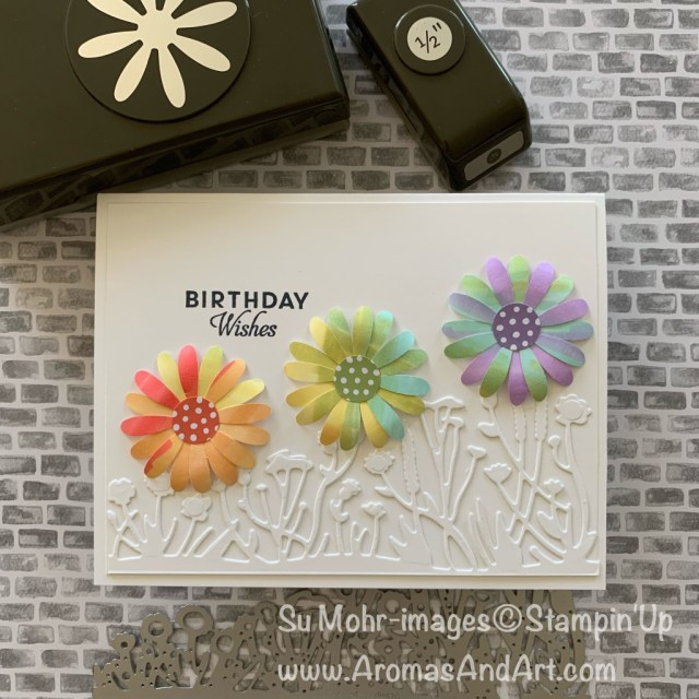 By Su Mohr for Seize the Birthday Party Guest; Click READ or VISIT to go to my blog for details! Featuring: Medium Daisy Punch, Stampin' Blend Alcohol Markers, Friendly Silhouettes Dies; #birthdaycards #daisies #daisiesoncards #handmadecards #daisypunch #silhouettesdies #diy #stampinblends #rainbows #rainbowsoncards