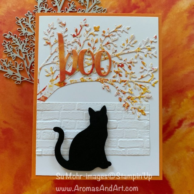 By Su Mohr for Fusion; Click READ or VISIT to go to my blog for details! Featuring: Cat punch, See A Silhouette DSP, Brick & Mortar embossing, Sweet Silhouette dies, Hand-Lettered Prose dies; #halloween #halloweencards #cats #catsoncards #bootiful #boo #handmadecards #handcrafted #diy #cardmaking