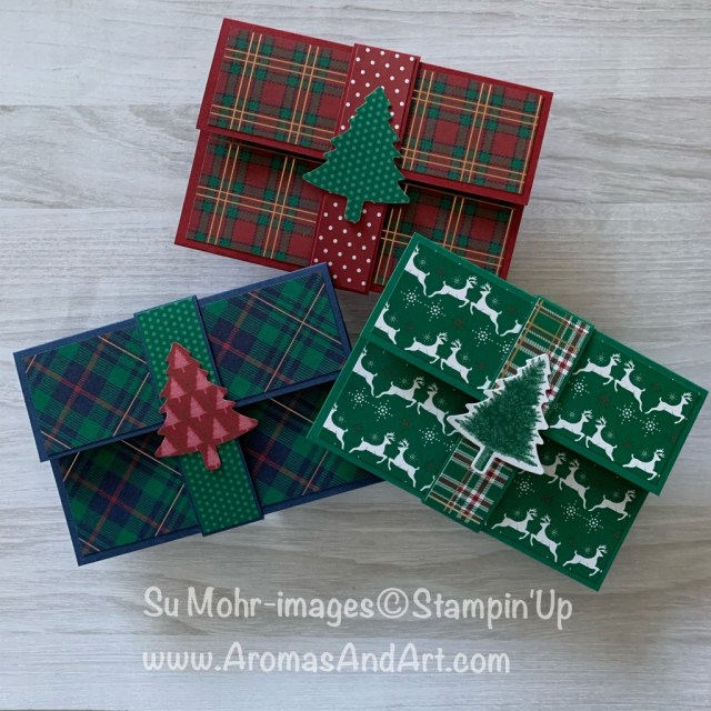 By Su Mohr for Pals Nov Blog Hop; Click READ or VISIT to go to my blog for details! Featuring: Wrapped In Plaid DSP, Pine Tree Punch, Stampin' Trimmer, gift card holders; #christmasgifts #giftcardholders #christmasgiftcardholders #handmade #handcrafted #diy #plaidpaper #bloghops