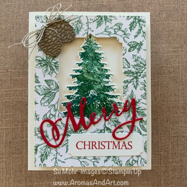 By Su Mohr for Pals Blog Hop; Click READ or VISIT to go to my blog for details! Featuring: Toile Tidings DSP, Merry Christmas Dies, Merry Christmas To All Stamp Set, Winter Woods Stamp Set, In the Woods Dies, Beautiful Boughs Dies; #cheistmascards #holidaycards #holiday2019 #cardtechniques #handmadecards #handcrafted #diy #cardmaking #christmastrees #beautifulboughs #toiletidings