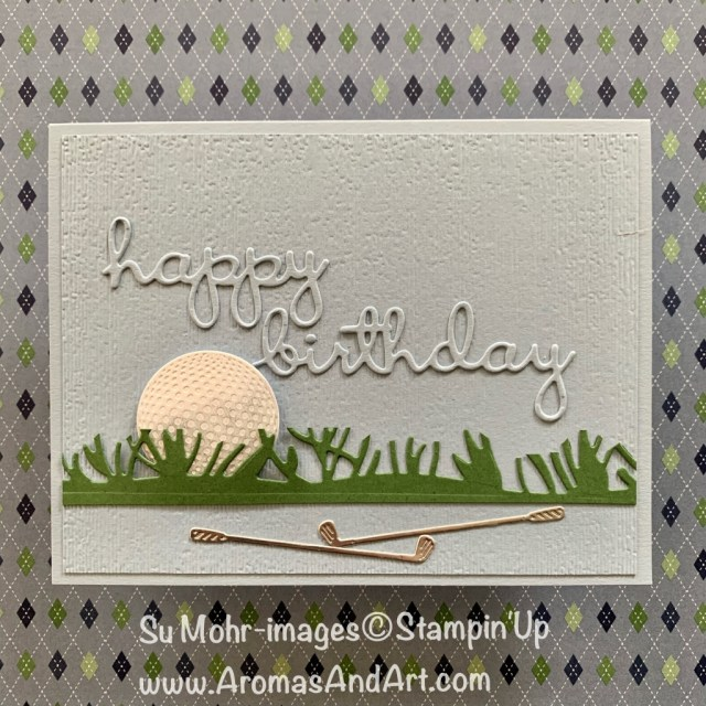 By Su Mohr for Paper Players Design Team; Click READ or VISIT to go to my blog for details! Featuring: Golf Club Dies, Friendly Silhouette Dies Subtle Textured embossing, Well Written Dies; #masculinecards #birthdaycards #golf #golfclubs #golfoncards #birthdaycards #sportsoncards #handmadecards #handcrafted #diy #cardmaking