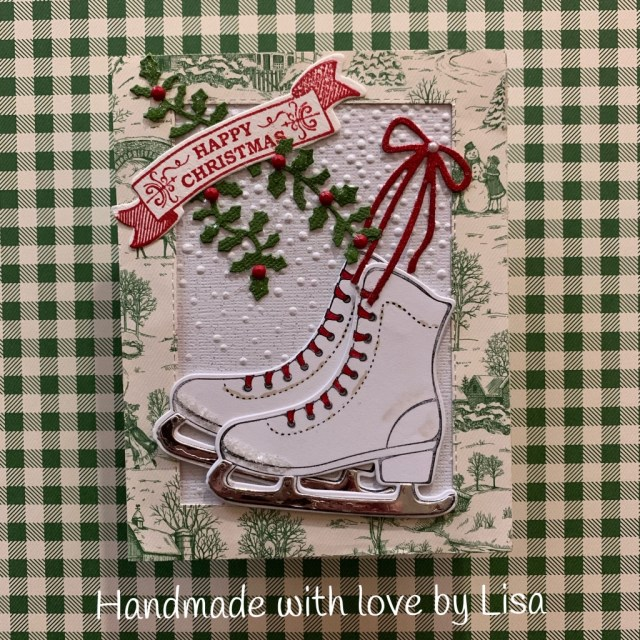 Free Skate by Lisa for Su Mohr; Click READ or Visit to go to my blog for details! Featuring: Free Skate Bundle, Free Skate Stamp Set, Detailed Skate Dies, Toile Tidings Designer Paper; #iceskating #skatingoncards #freeskate #handmadecards #handcrafted #diy #cardmaking #christmascards #holidaycards