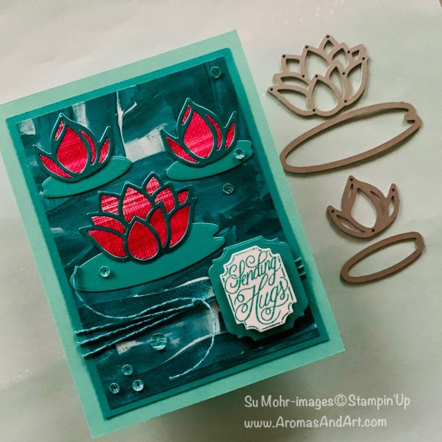 By Su Mohr for Kre8tors Blog Hop; Click READ or VISIT to go to my blog for details! Lily Impressions DSP, Noble Peacock Foil, Ornate Frames Dies, Perfectly Framed Stamp Set, Lily Pad Dies, take Your Pick Tool; #waterlilies #lilypaddies #lilyimpressions #ornateframes #saleabration #sale-a-bration #2020stampinup #handmadecards #handcrafted #diy #cardmaking