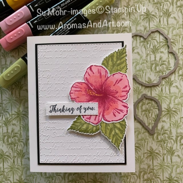 By Su Mohr for FMS and Sisterhood; Click READ or VISIT to go to my blog for details! Featuring: Timeless Tropical Stamp Set, Colorful Seasons Stamp Set, Scripty embossing, Rectangle Stitched Dies, In The tropics Dies, Stampin' Blends; #thinkingofyoucards #friendshipcards #hibiscus #tropical #tropicalcards #Flowersoncards #handmadecards #handcrafted #diy #cardmaking #cardchallenges #2020minicatalog #saleabration